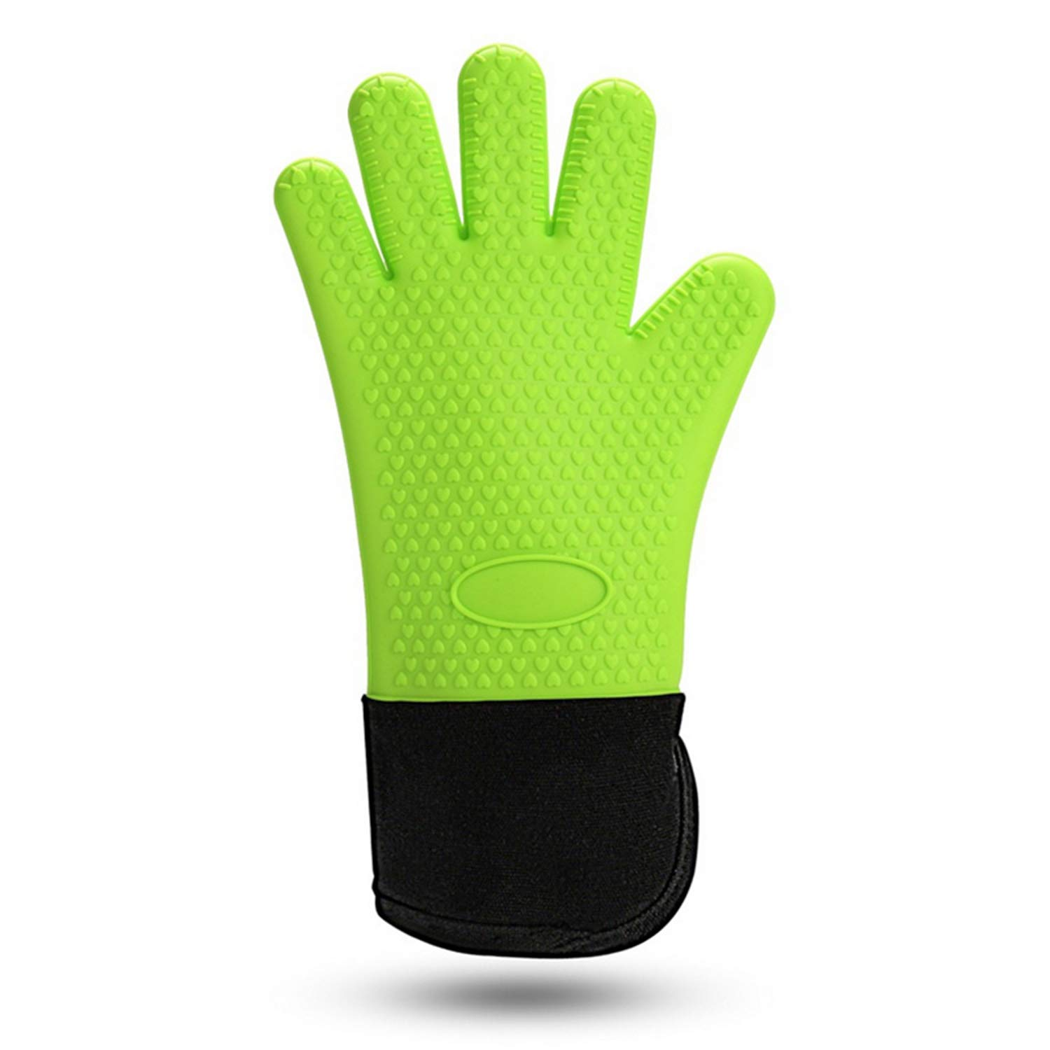 JOOIH 1PC Long Length Silicone Glove For Oven Heat Resistant Oven Gloves Cotton Mitt Silicone Baking Gloves For Microwave Kitchen Tool Green
