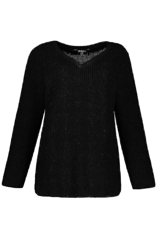 Ulla Popken Womens Plus Size Seam Detail V-Neck Sweater 717784