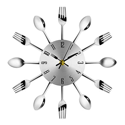 . Amazon com  3D Wall Clock Cutlery Kitchen Modern Stainless Steel