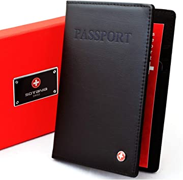 Black Travel Leather Passport Cover Organizer USA Card Case Wallet Men/'s Women/'s
