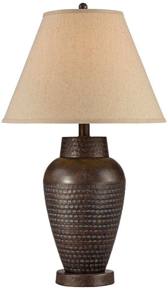"""Auburn Modern Table Lamp Rustic Hammered Bronze Metal Vase Natural Linen Empire Shade for Living Room Family Bedroom Bedside - Regency Hill - 25"""" high overall. Base is 5"""" wide. Shade is 7"""" across the top x 14 1/4"""" across the bottom x 10 1/2"""" on the slant. Uses one maximum 150 watt standard-medium base bulb (not included). On-off switch on socket. Rustic metal table lamp from the Regency Hill brand. - lamps, bedroom-decor, bedroom - 61nRmedSzwL -"""