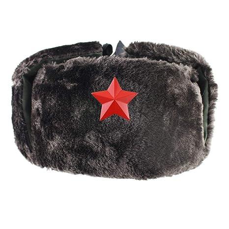 Gorros de aviador para hombre,Negro Estrella Roja Insignia Militar ...