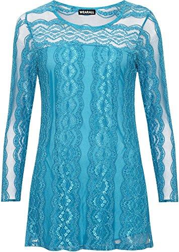 WEARALL 56 Taille Femmes tendue Haut Cou Hauts Tour Grande Pur 42 Tunique Turquoise Longue Dames Manche Dentelle Doubl Tailles Femmes AUSAwrq