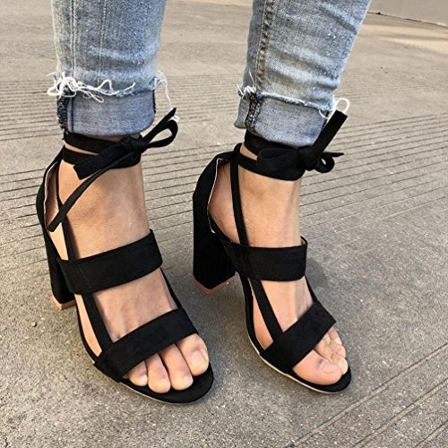 huateng Zapatos de Mujer Sandalias de Gamuza Vendaje Grueso con Zapatos de Tacón Alto Zapatos de Punta Abierta (Negro) negro