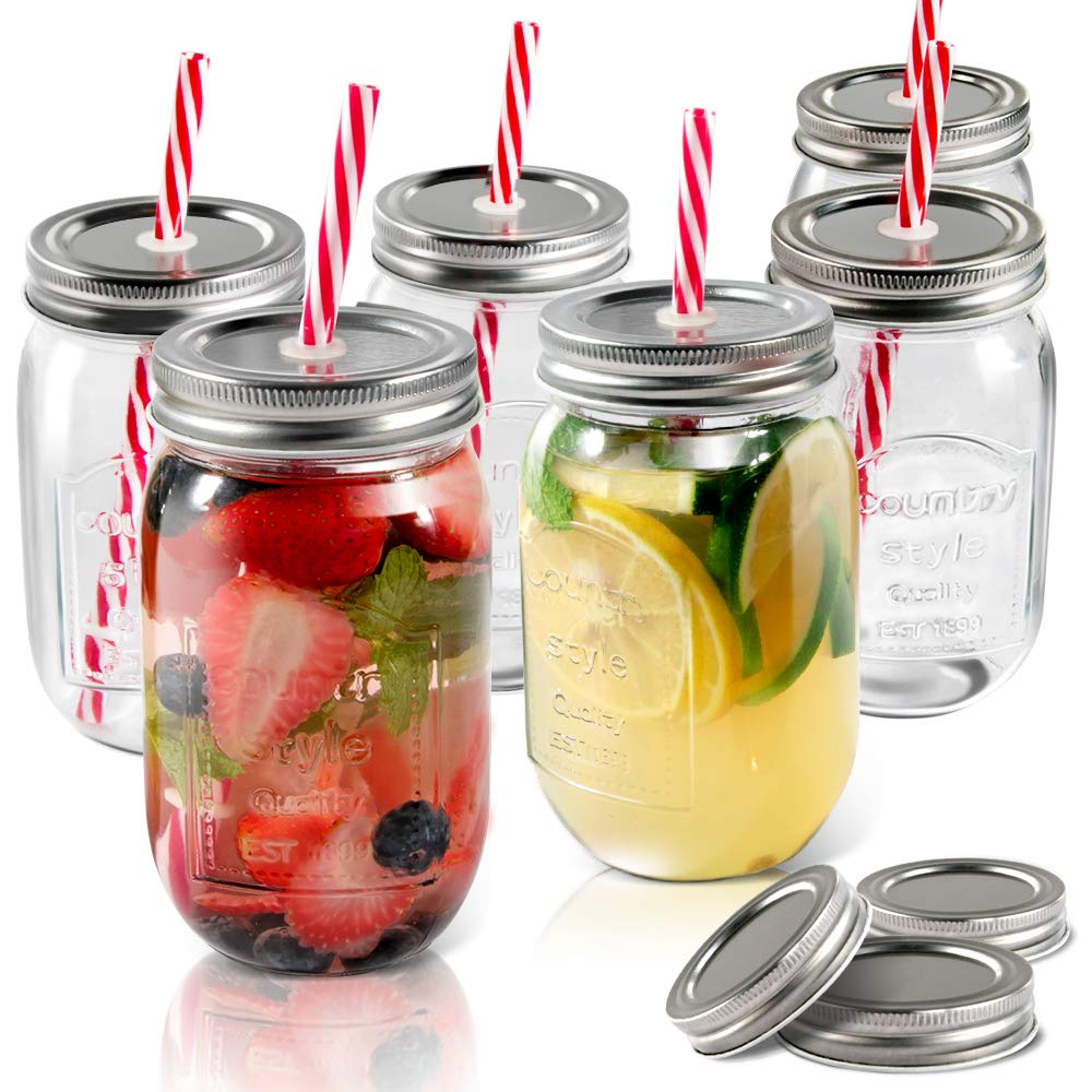 Mason Jars 6 PCS 16.9 oz Glass Jars with Lids & Straws Send 3 Non-Pores Covers Kitchen Glass Jars Mugs Masthome