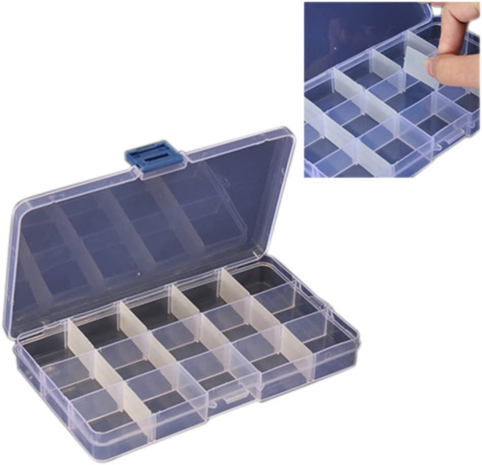 Gemini/_mall/® Compact Adjustable 10 Compartment Plastic Crafts Storage Box Jewelry Case Tool Container