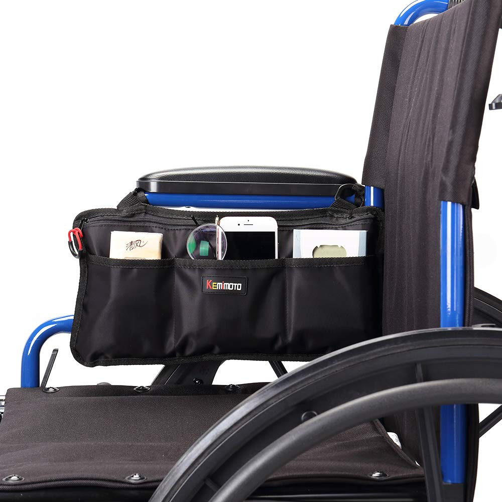 kemimoto Wheelchair Side Bag for Back of Chair & The Armrest, Wheelchair Accessories Storage Bag Pouch by kemimoto