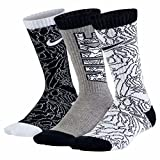 Nike Big Boys' Performance Crew Socks 3 Pack (X-Small (Youth shoe size 13C-3Y), White/Black/Grey)