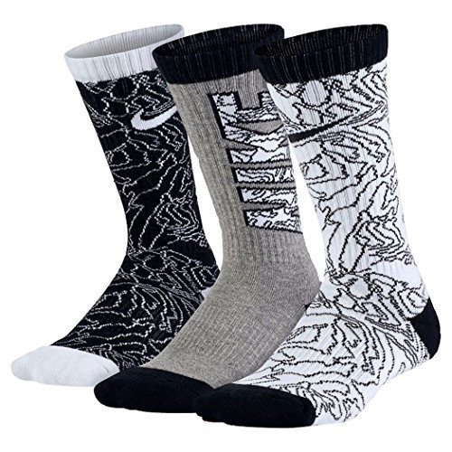 Nike Big Boys' Performance Crew Socks 3 Pack (X-Small (Youth shoe size 13C-3Y), (One Youth Socks)