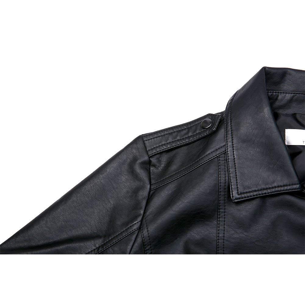 Giacca Tasche con Cerniera Pu Biker Giacca per lautunno e linverno Biker Motocicletta Giacchetto Marrone ZAKASA Giacca Corta da Donna in Pelle PU