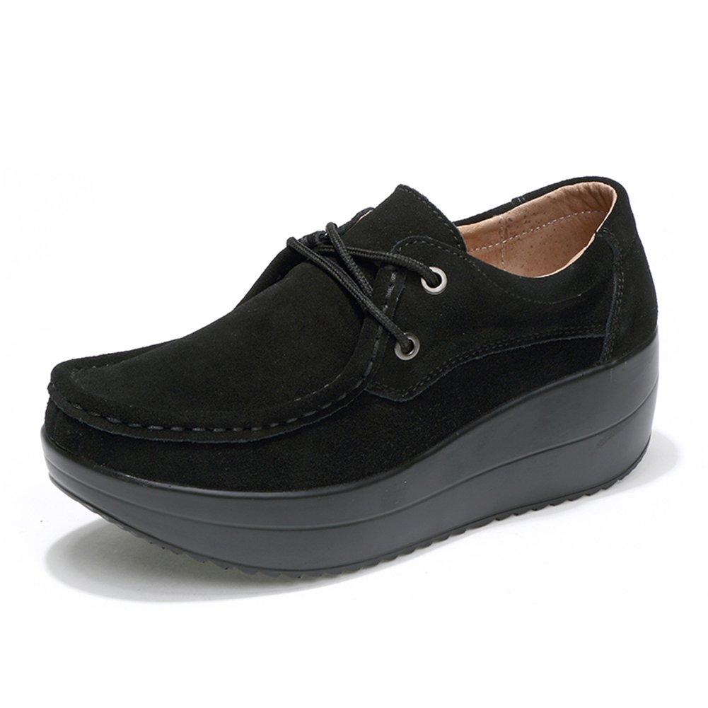 HKR-JJY3235-1heise39 Women Lace up Platform Wedge Oxfords Shoes Comfort Round Toe Suede Moccasins Shoes Black 7.5 B(M) US