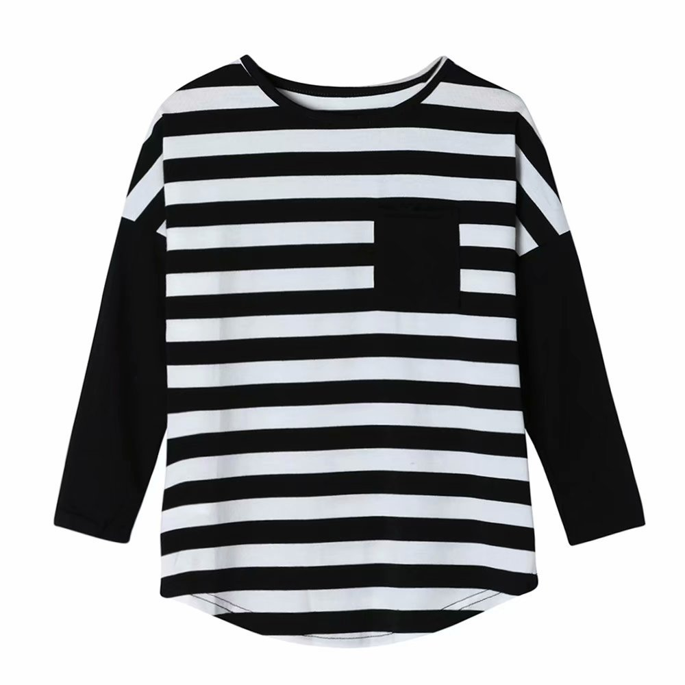 316e183053 Zerototens Baby Girls Clothes Long Sleeve Black and White Striped T Shirt  Blouse Tops Kid Spring Autumn Clothing Family Clothes Casual Outfit  Sweatshirt