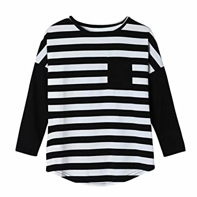 7ec1ca07fd Zerototens Baby Girls Clothes Long Sleeve Black and White Striped T Shirt  Blouse Tops Kid Spring