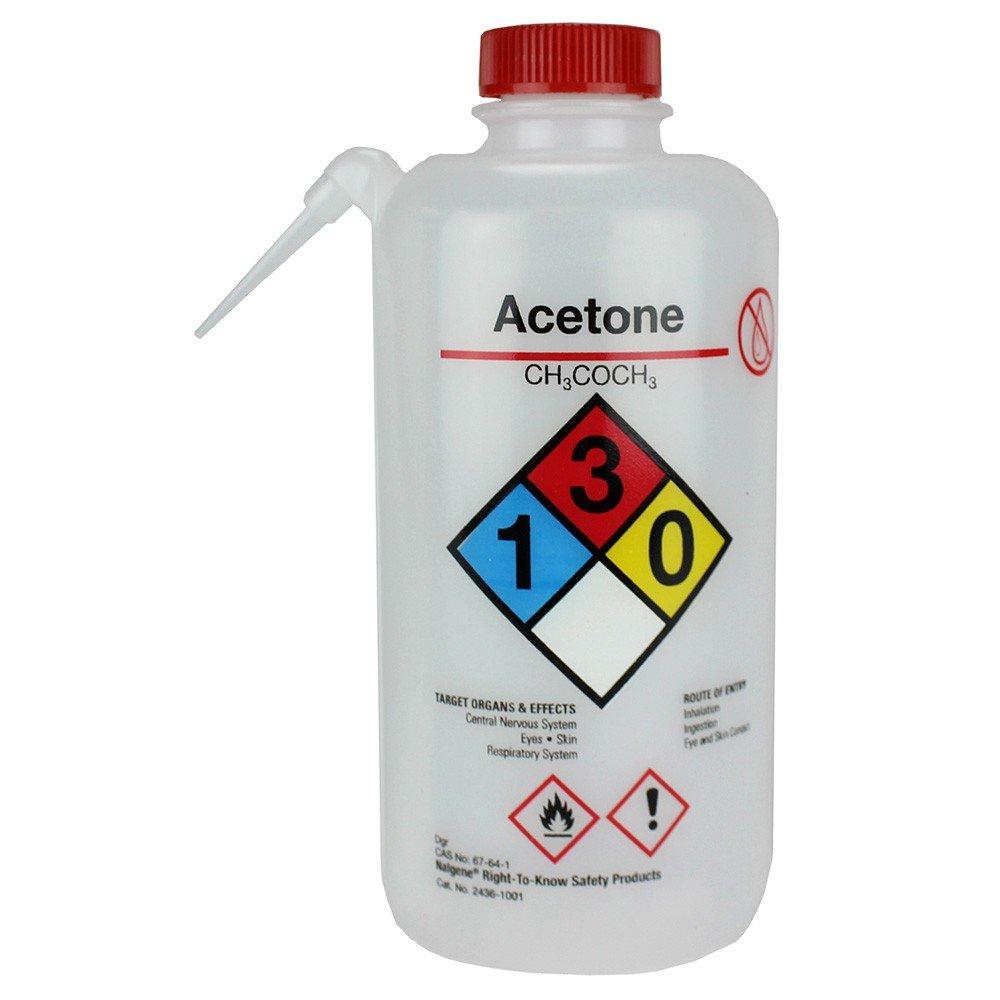Nalgene 2436-0251 Vented Unitary Right-To-Know Wash Bottle, Acetone, 250mL (Pack of 4)