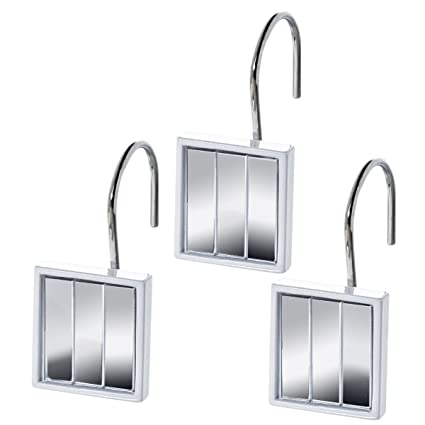 Quilted Mirror Resin Shower Curtain Hooks  Set Of 12  Decorative Rust  Resistant Bath Hook