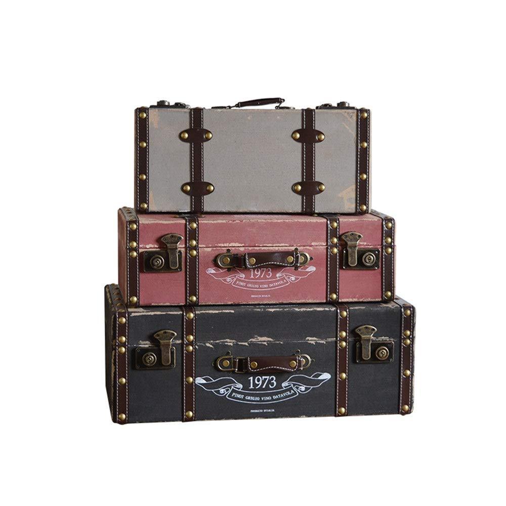 LJPzhp-HomeDecorations Vintage Koffer Set 3 Puppenweinlese-Koffer Gepäckbox Vintages Shabby Chic-Aufbewahrungsbehälter for Hauptdekor (Farbe : Tricolor, Größe : Large+Middle+small)