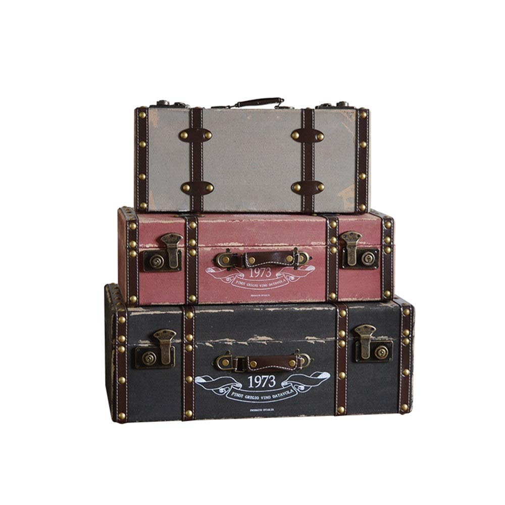 Truhe Kiste Koffer, Kofferset, Set 3 Puppenweinlese-Koffer Gepäckbox Vintages Shabby Chic-Aufbewahrungsbehälter for Hauptdekor HolzKolonialtruhe, Kolonialstil