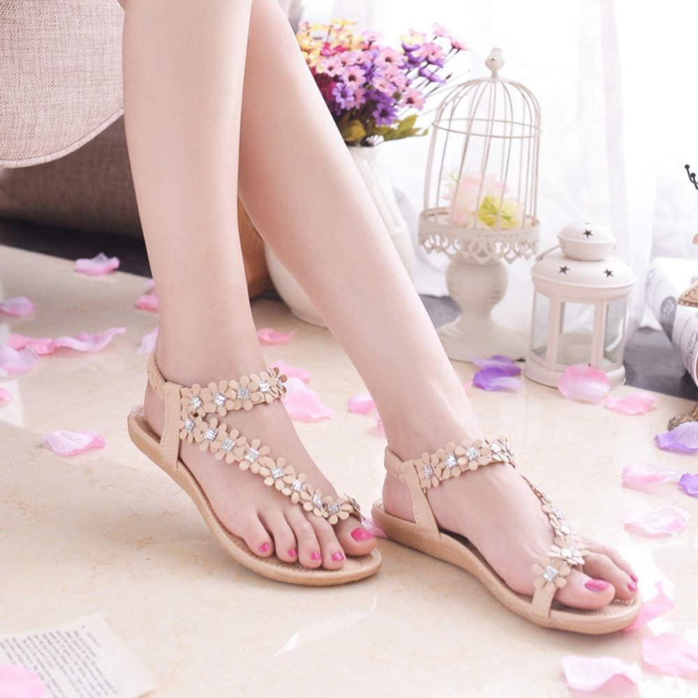 GridNN Women Summer Bohemia Flower Beads Flip-Flop Shoes Flat Sandals