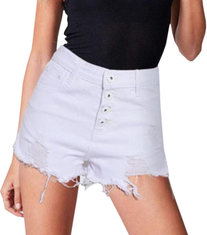 Generic Womens Wash Hole Tassel High Waist Denim Shorts