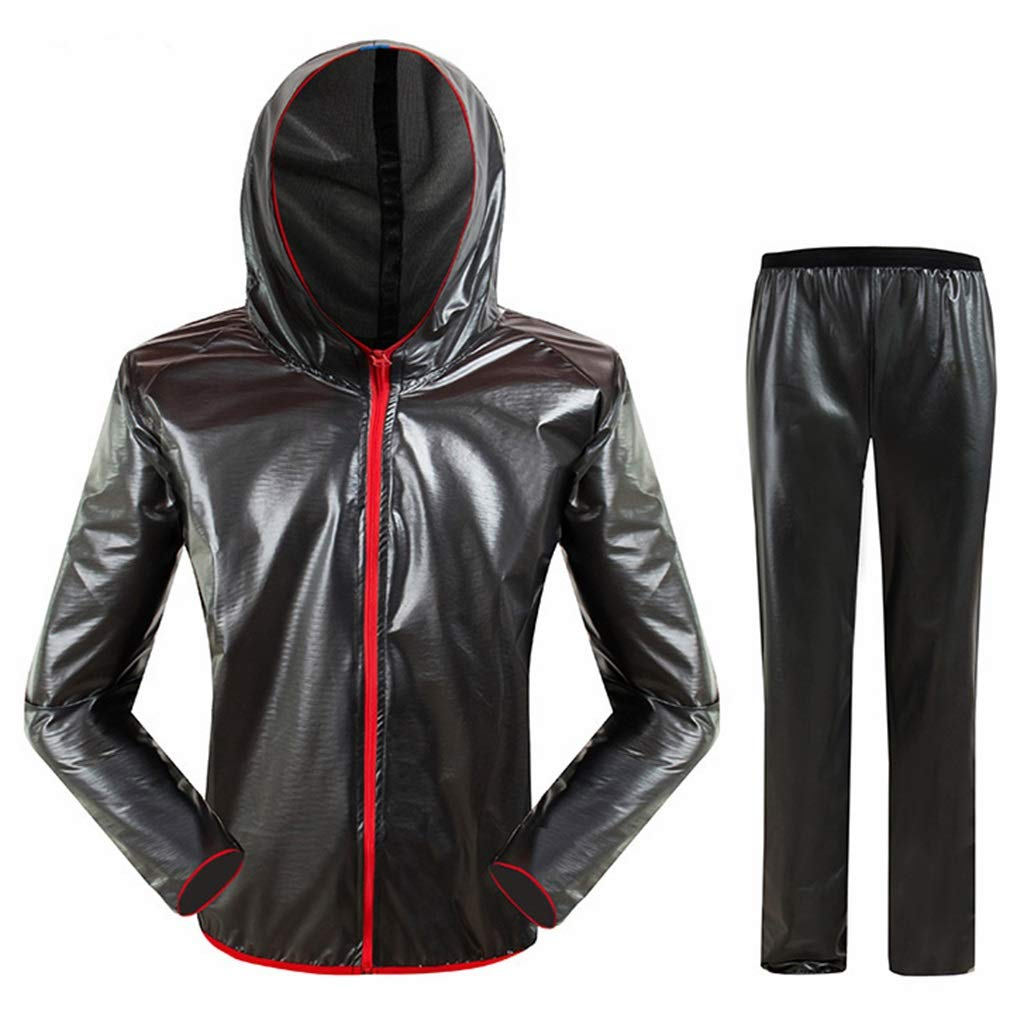 Noir XX-grand Dongyd Les hommes et les femmes chevauchant un ensemble imperméable fendu, une veste de pluie à capuchon imperméable pour adulte et un costume de pantalon, des vêteHommests de pluie résistants aux intemp