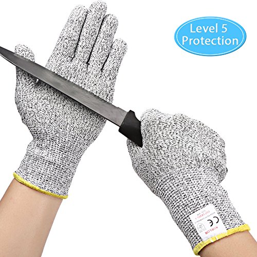 (Kuelor Cut Resistant Gloves Level 5 Protection, Food Grade Kitchen Glove for Hand Protection, Stretchy Safety Gloves for Cutting, Slicing, Yard Work (Medium))