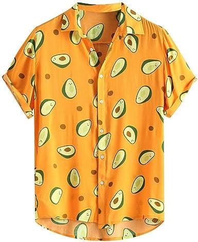 Camisa Hawaiana para Hombre Manga Corta Camisas Casual para Hombre Top Estampado Impresión Aguacate Verano romántico Playa Funny Hawaii Shirt: Amazon.es: Ropa y accesorios