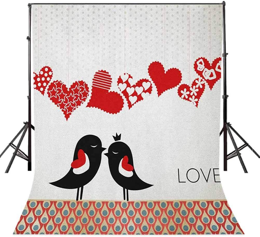 9x16 FT Love Vinyl Photography Background Backdrops,Queen and King Bird Couple Kissing Hanging Heart Shapes and Abstract Drop Pattern Background Newborn Baby Portrait Photo Studio Photobooth Props
