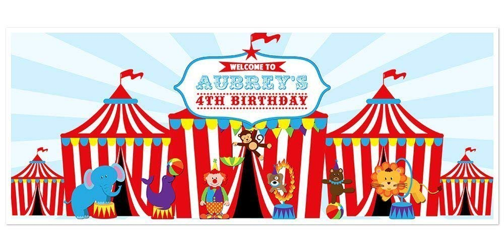 Amazon Com Circus Carnival Big Top Birthday Banner Personalized Party Decoration Backdrop Handmade