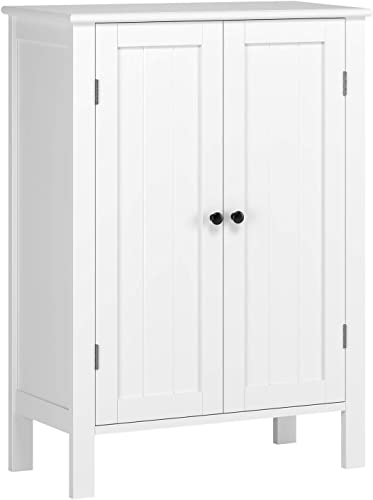 HOMFA Bathroom Floor Cabinet, Free Standing Side Cabinet Storage Organizer with Double Doors and Adjustable Shelf for Home Office