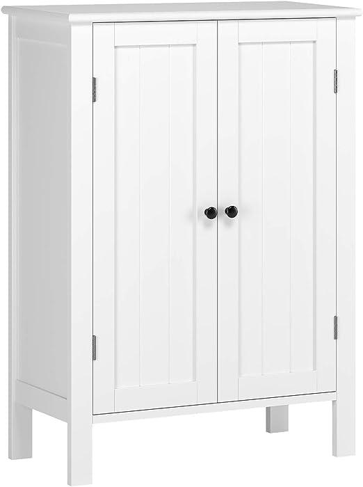 Double Door Double Compartment PVC inch 19.7x11.8x31.5 DESIGNSCAPE3D Premium Bathroom Floor Storage Cabinet Free Standing