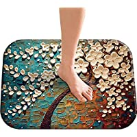 Indoor Doormat 15.8X 24,Non-Slip Soft Abstract Flannel Dirt Trapper Thin/Small Carpet Washable Kitchen Art Rugs