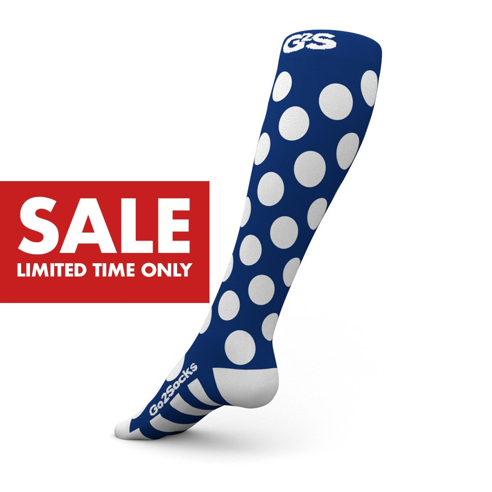 Go2Socks GO2 Compression Socks for Men Women Nurses Runners 20-30 mmHg (high) - Medical Stocking Maternity Travel - Best Performance Recovery Circulation Stamina - (BluePolka,S)