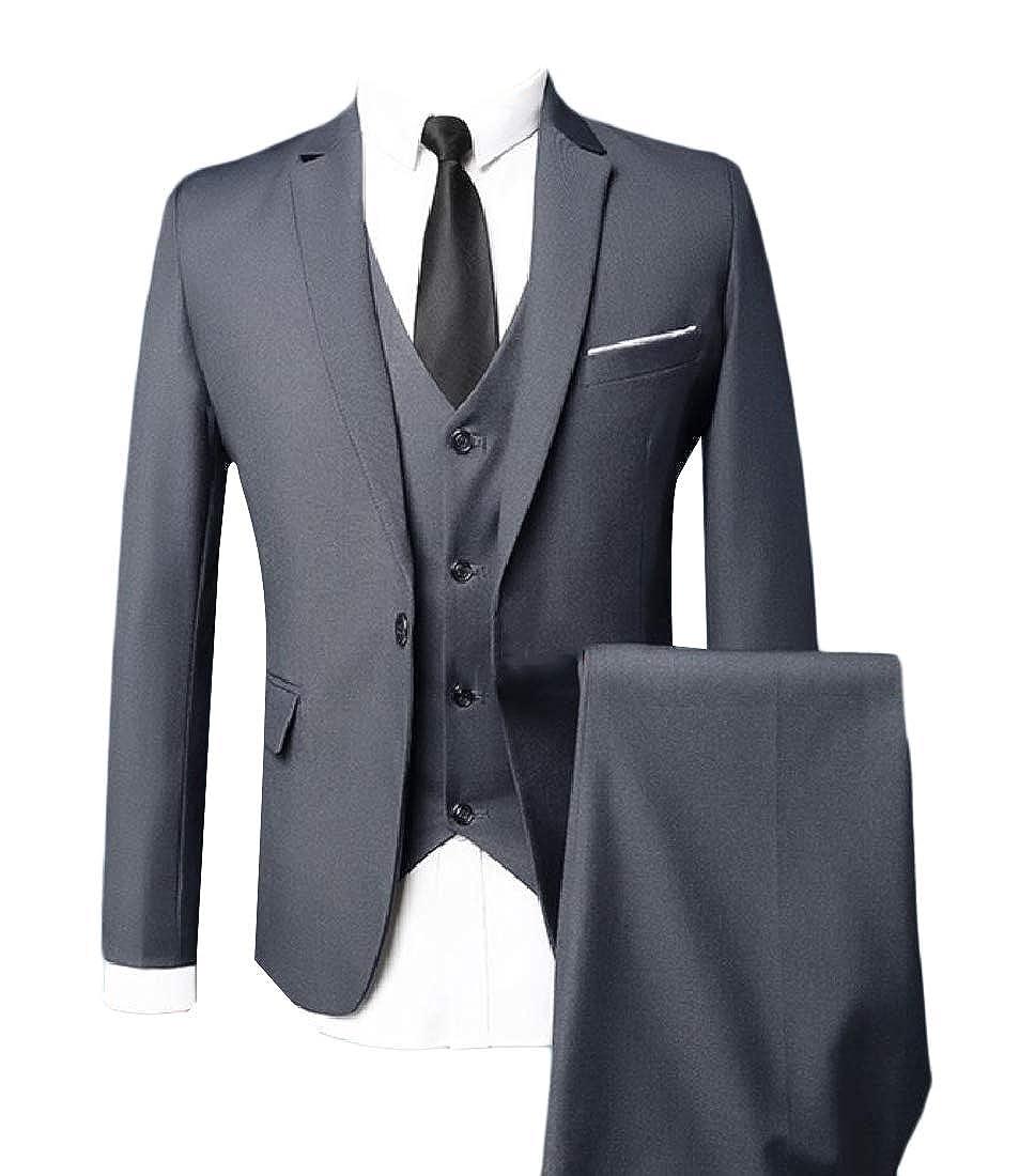 Zimaes-Men Business Solid Blazer Jacket Tux Vest /& Trousers 3-Piece Suit Set