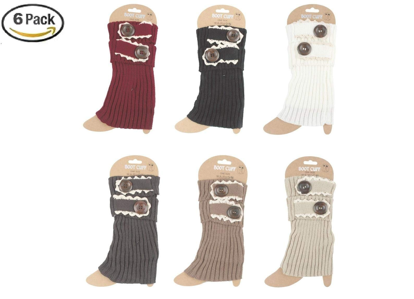 6 Pack Women Crochet Knitted Button Boot Cuffs Leg Warmer Socks