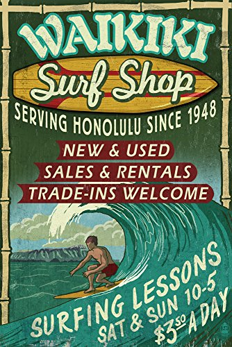 Waikiki Beach, Hawaii - Surf Shop Vintage Sign (24x36 SIGNED Print Master Giclee Print w/ Certificate of Authenticity - Wall Decor Travel Poster) by Lantern Press