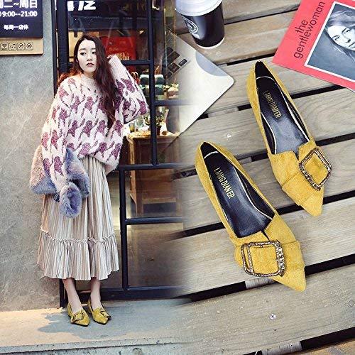 Willsego Grob mit der der der Spitze der Schnalle Einzelne Schuhe, mit Satinschuhen Arbeitsschuhe mit niedrigerer Frau (Farbe   37, Größe   The rot) 899803