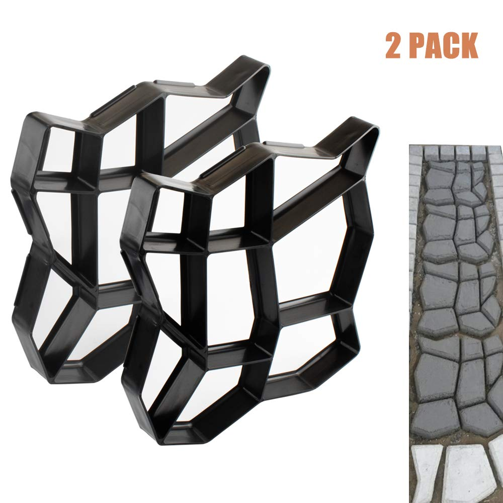 Concrete Molds 2 Pack Walk Maker Reusable Path Maker Stepping Stone Paver Lawn Patio Yard Garden DIY Walkway Pavement Paving Moulds (Irregular)