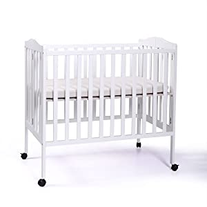 2-in-1 Portable Pine Wood Baby Crib Toddler Bed Nursery Furniture Safety with Sponge Mattress White