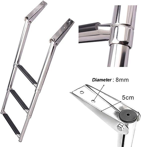 Escalera telescópica Escalera De Barco Telescópica De Acero Inoxidable De 3 Peldaños - Escalera Plegable para Piscina/Yate Marino, Capacidad De 550 LB: Amazon.es: Hogar