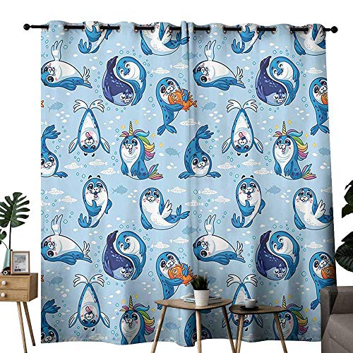 duommhome Sea Animals Decor Simple Modern Style Curtain Seal Pup Cartoon Aquatic Wildlife Friendly Hugging Water Bubbles for Kids Provide You with a Good Indoor Environment W72 xL72