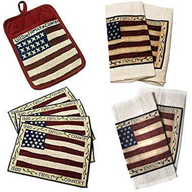 Americana Kitchen Linen Set Featuring U.S. Flag - Deluxe Set: 4 Tapestry Placemats, 2 Kitchen Towels, 2 Washcloths and 1 Potholder