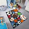 Carvapet Kids Carpet Playmat Rug Mixed Ball Sports Pattern Area Rugs for Children Room Play, Learn and Have Fun Safe Area, 3.3ft x 4.2ft
