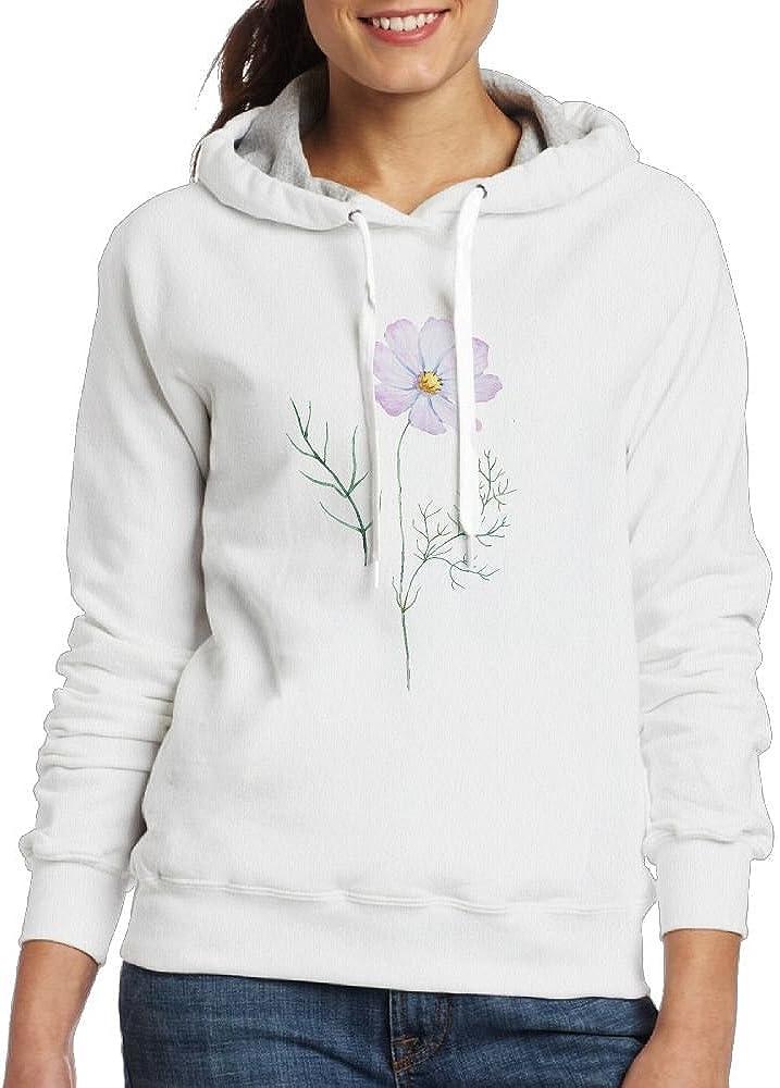 Ojinwangji Cool Blooming Flowers Womens Long Sleeve Hoodie White