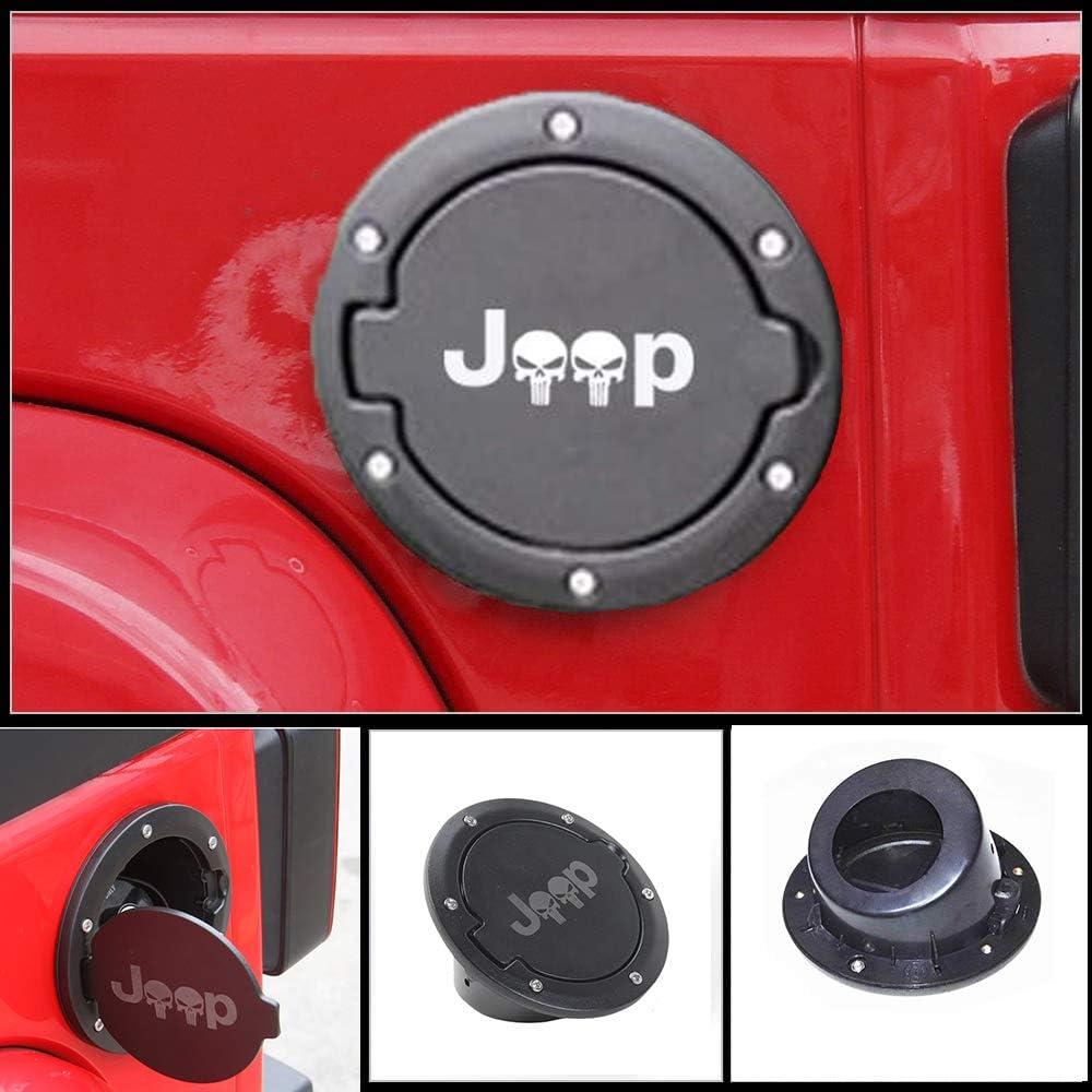 Fuel Filler Door Cover Gas Tank Cap for 2007-2017 Jeep Wrangler JK /& Unlimited 4-Door 2-Door JEEP