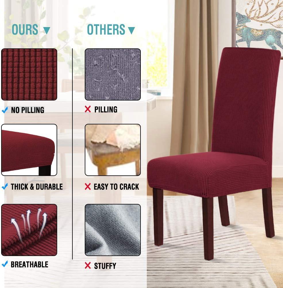 Housses de protection extensibles pour chaise de salle à manger en élasthanne doux, plusieurs couleurs, Spandex Polyester, bordeaux, Lot de 4