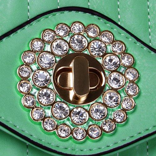 CASPAR Damen elegante Abendtasche Envelope Briefumschlag Umhängetasche mit edlem Strass - viele Farben mint