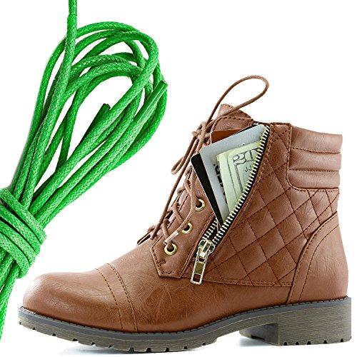 Dailyshoes Kvinners Militære Snøring Spenne Combat Boots Ankelen Høyt Eksklusivt Kredittkort Lomme, Grønn Tan Pu