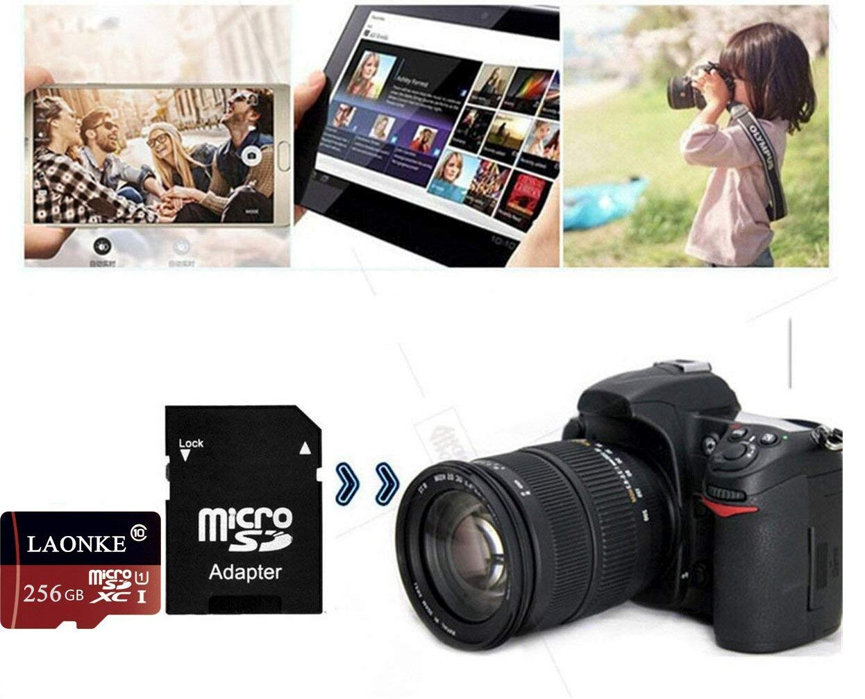 Tarjeta de Memoria Micro SDHC de 128 GB//256 GB//400 GB Clase 10 UHS-I TF Tarjeta de Memoria Flash con Adaptador 400GB