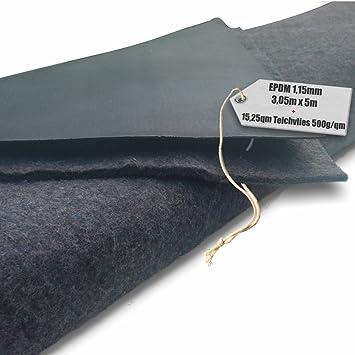 Teichfolie PVC 1,5mm schwarz in  5m x  2m mit Vlies 500g//qm