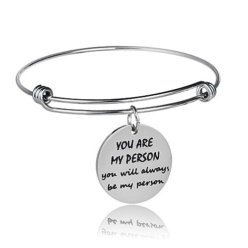 """nuovo stile b6398 83992 Bespmosp, Bracciale rigido con ciondolo con scritta in inglese """"You are my  person you will always be my person"""", braccialetto per la persona amata"""